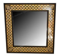 Square Metal and White Bone Mirror - M-MB053