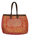 Moroccan Straw Lined Handbag - HB003-RED
