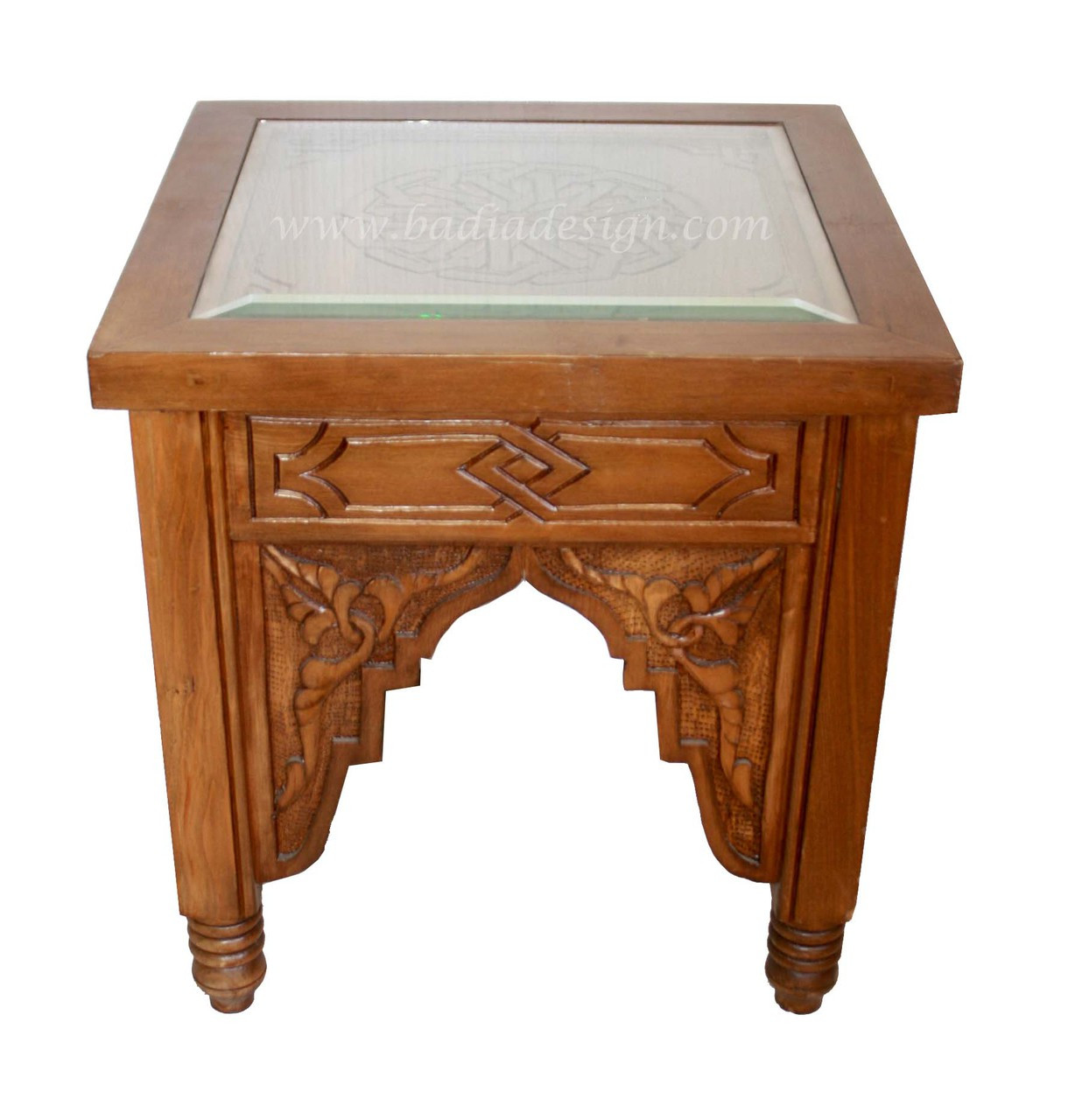 Carved Wood Side Table With Glass Top Cw St035