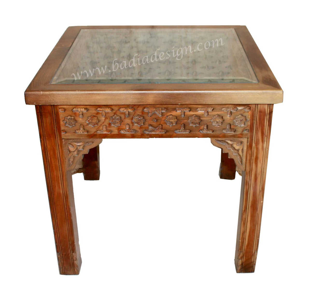 a180cadadfeae Carved Wood Side Table with Glass Top - CW-ST037. Image 1. Loading zoom