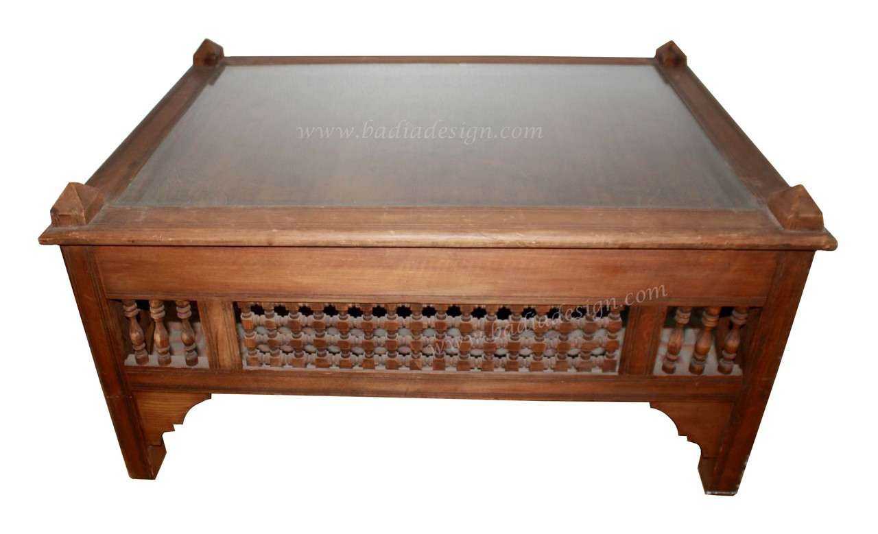 Moroccan Carved Wood Coffee Table With Glass From Badia Design Inc