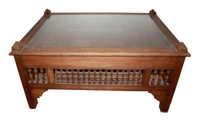 carved wood coffee table with glass top cw st038 - Carved Wooden Coffee Tables