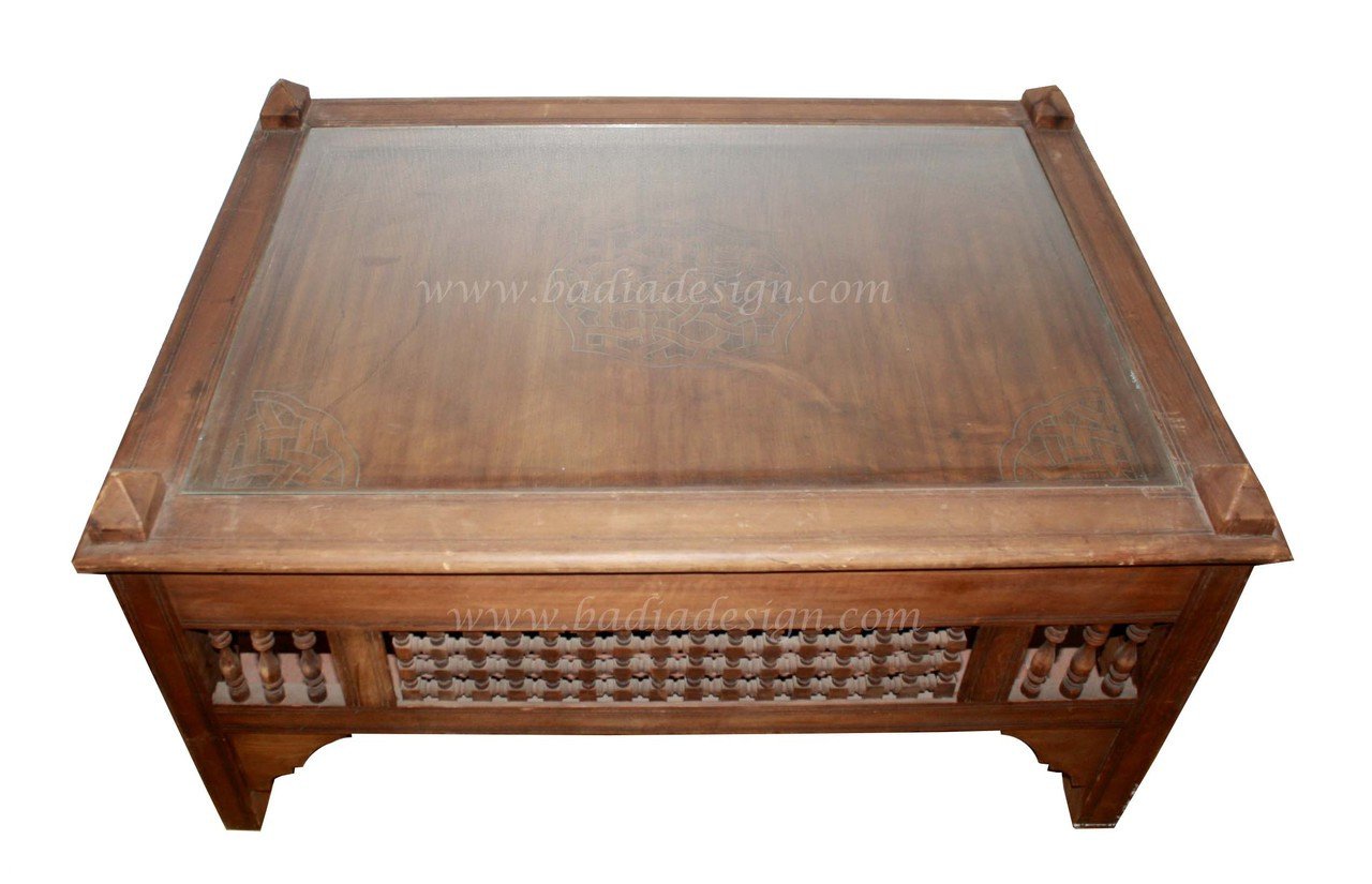 - Moroccan Carved Wood Coffee Table With Glass From Badia Design Inc.
