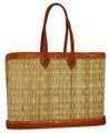 Moroccan Straw Lined Handbag - HB005-BRN