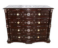 Large Carved Wood Bone Inlay Dresser - CW-CA038