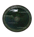 Hand Painted Carved Green Ceramic Platter CER34-GR