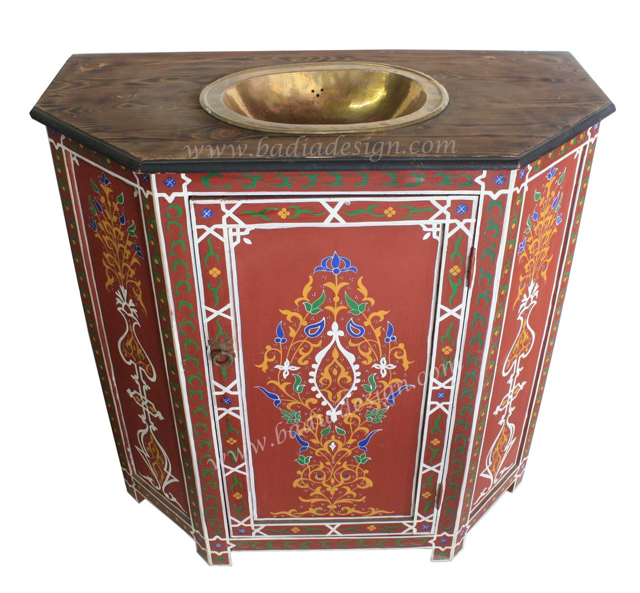 Moroccan Hand Painted Wooden Bathroom Vanity With Sink From Badia Design Inc