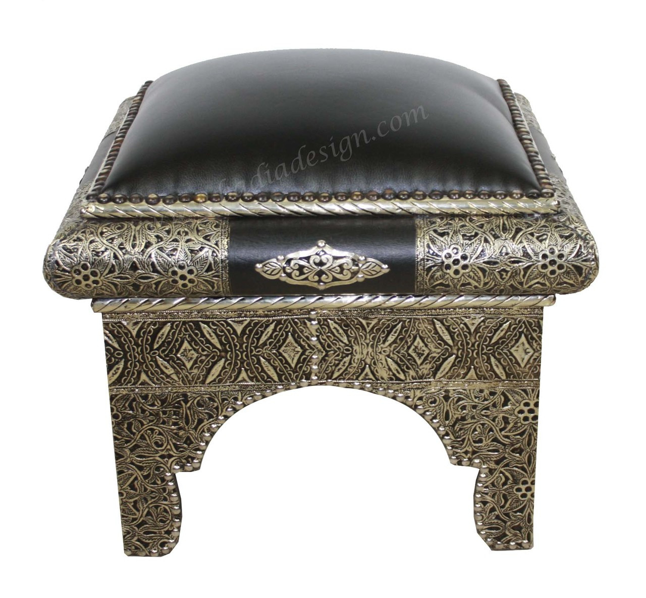 Swell Square Metal And Hard Black Leather Ottoman Ml Ch015 Squirreltailoven Fun Painted Chair Ideas Images Squirreltailovenorg