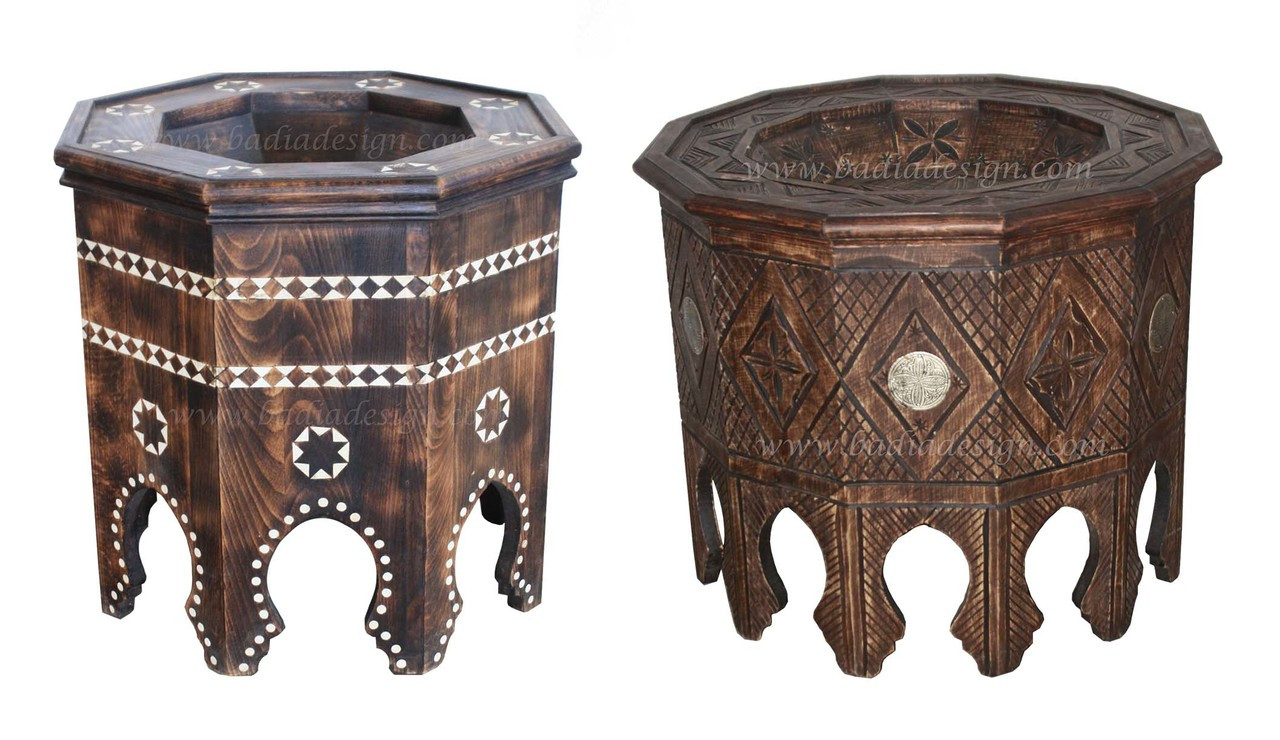 Moroccan Hand Carved Wooden Side Table From Badia Design Inc