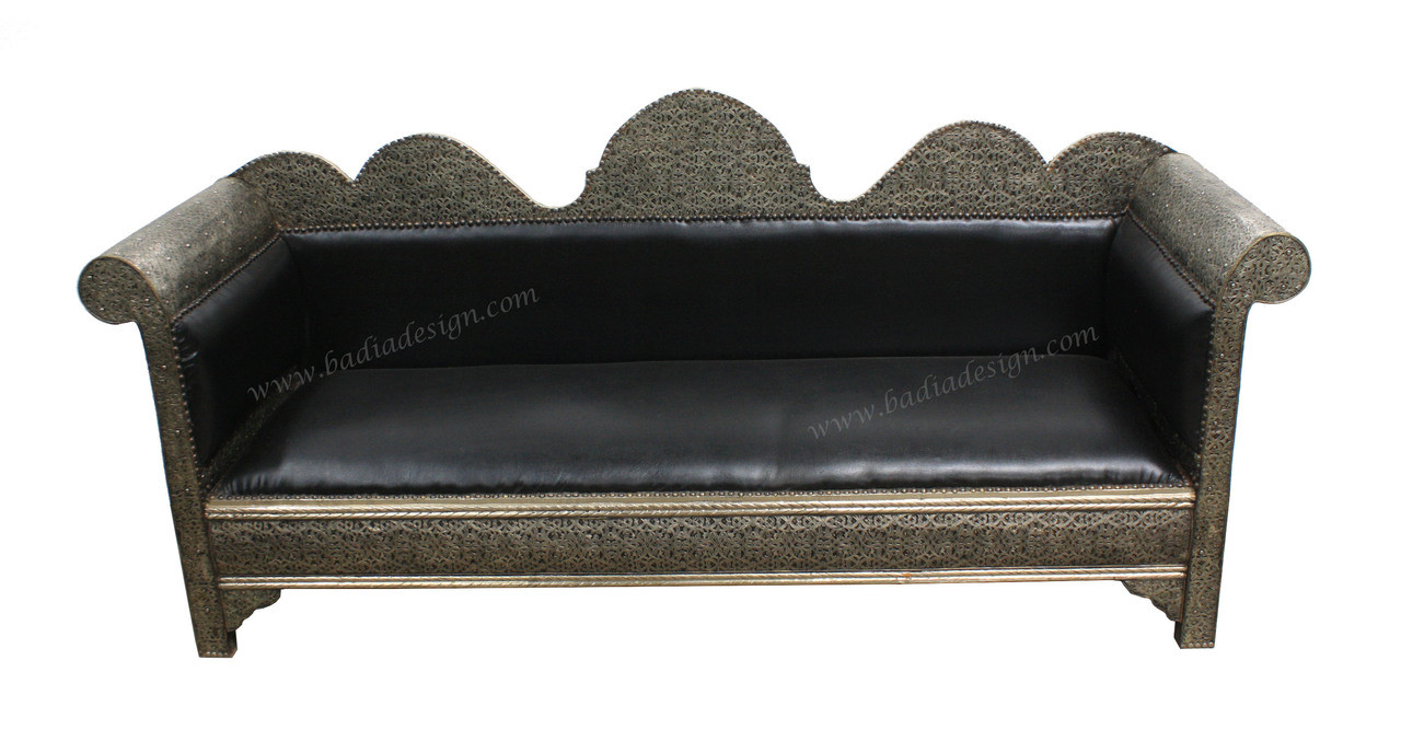Moroccan Carved Silver Nickel and Leather Sofa from Badia Design Inc.