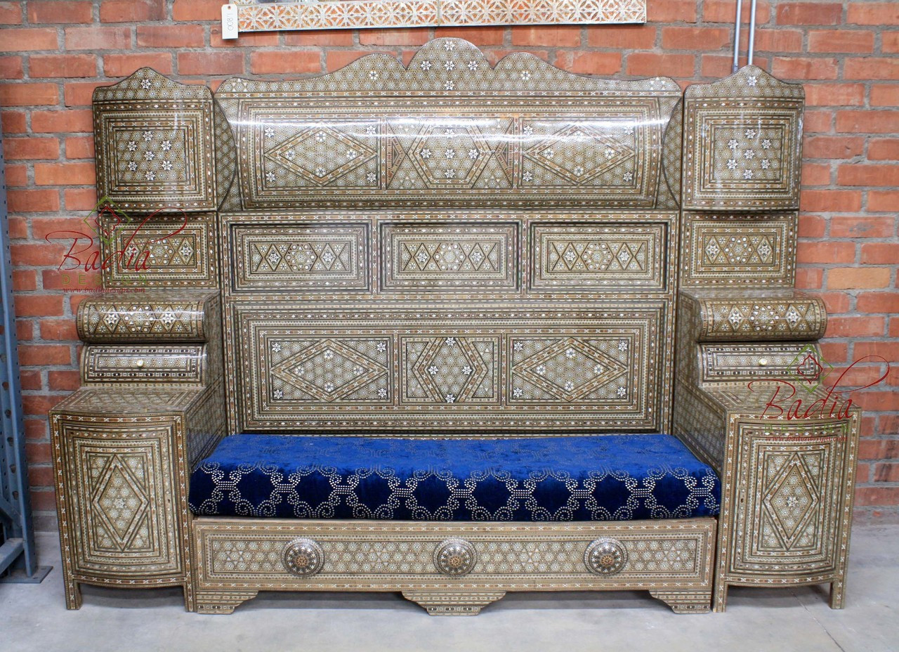 Large Vintage Syrian Style High Back Sofa   MOP CH022