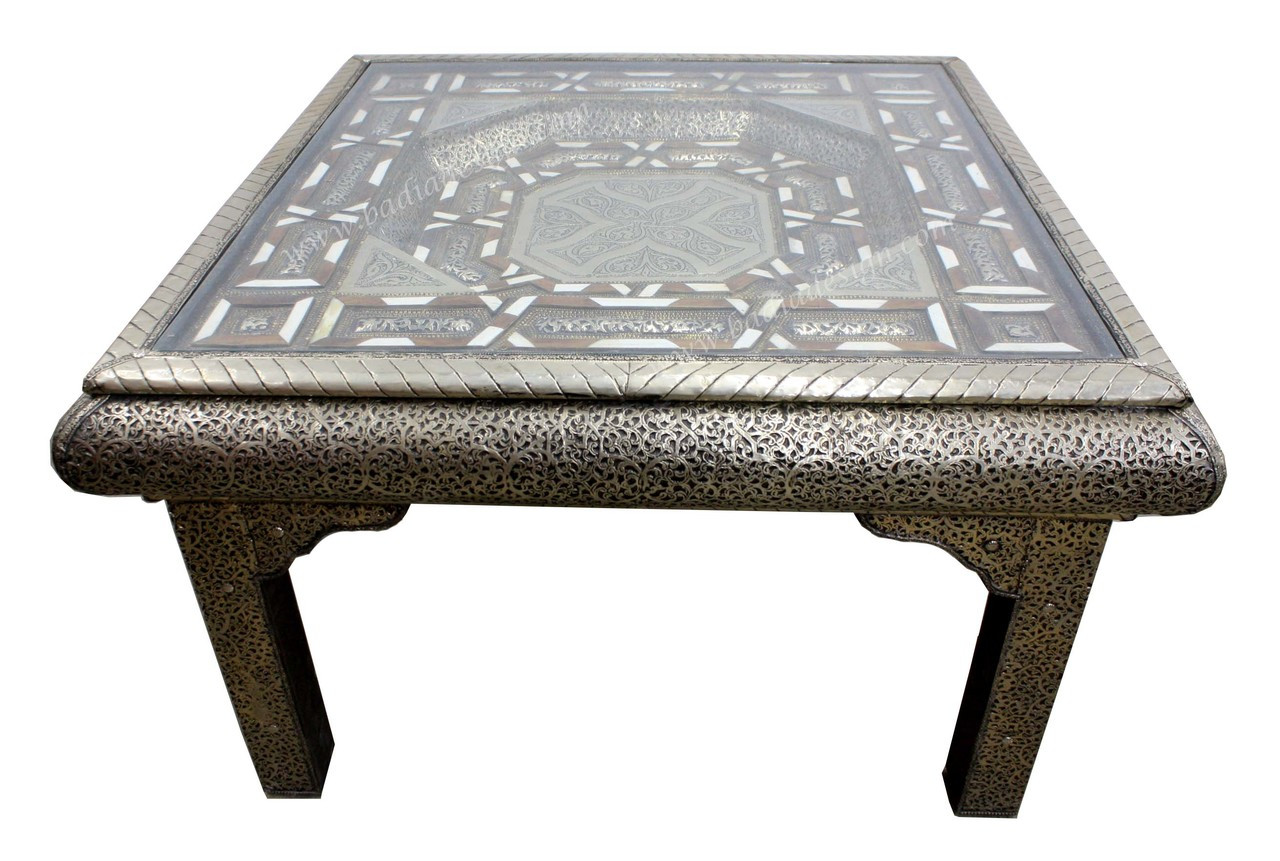 73d7e9735f634 Moroccan Square Shaped Metal and Bone Coffee Table from Badia Design ...