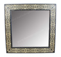 Square Wood and Bone Inlay Mirror - M-MB064