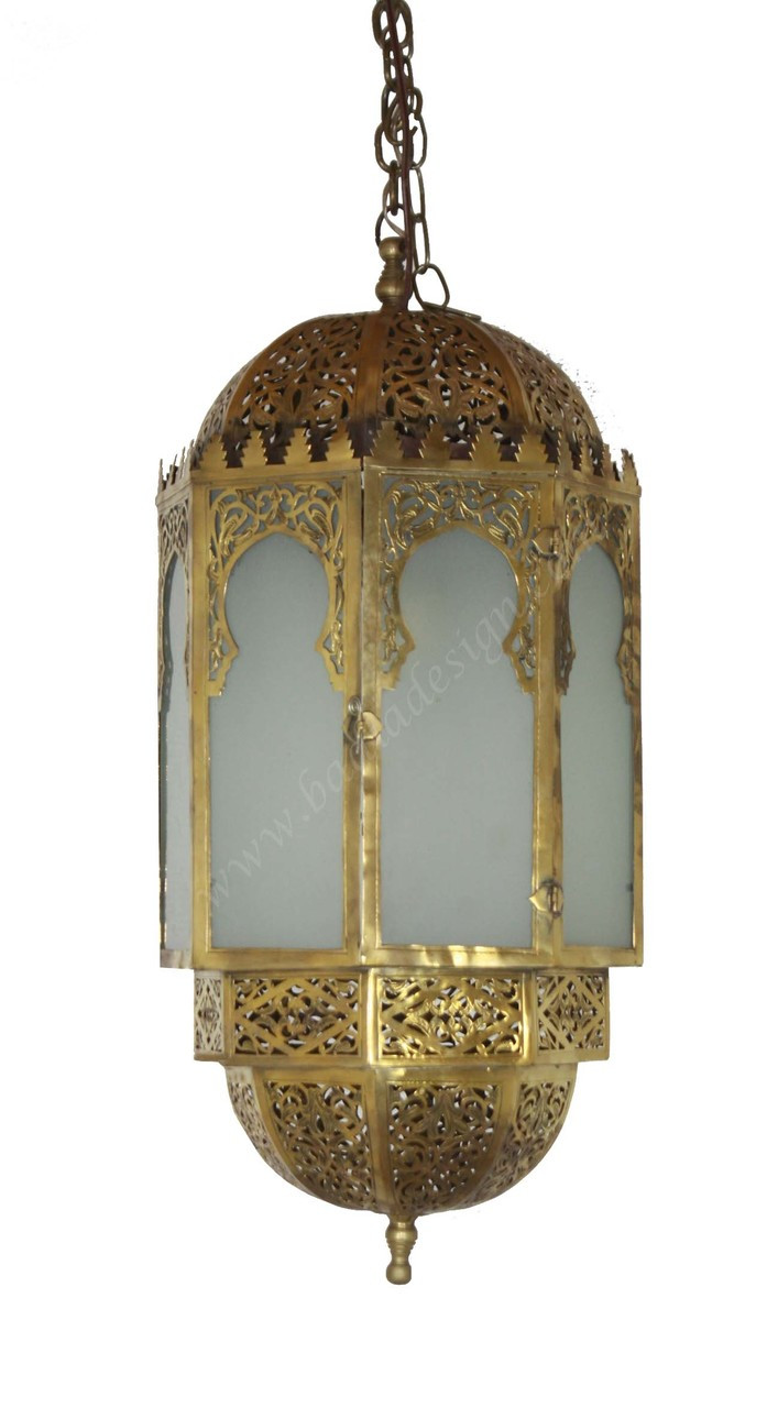 Moroccan Brass Cylinder Shaped Ceiling Light Fixture With Soft White Glass From Badia Design Inc