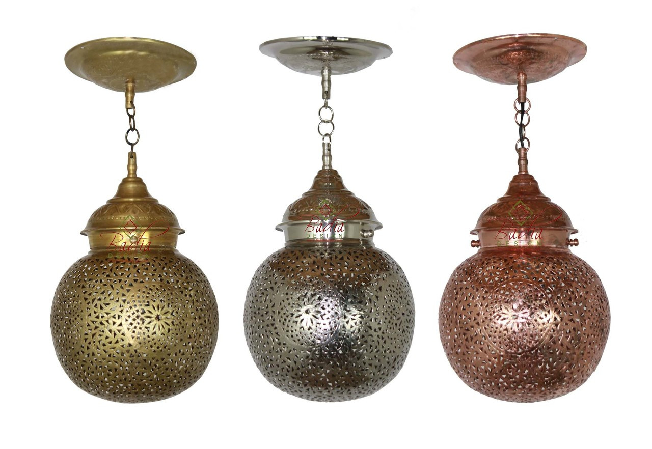 Hanging Brass, Silver And Copper Pendant Light   LIG304