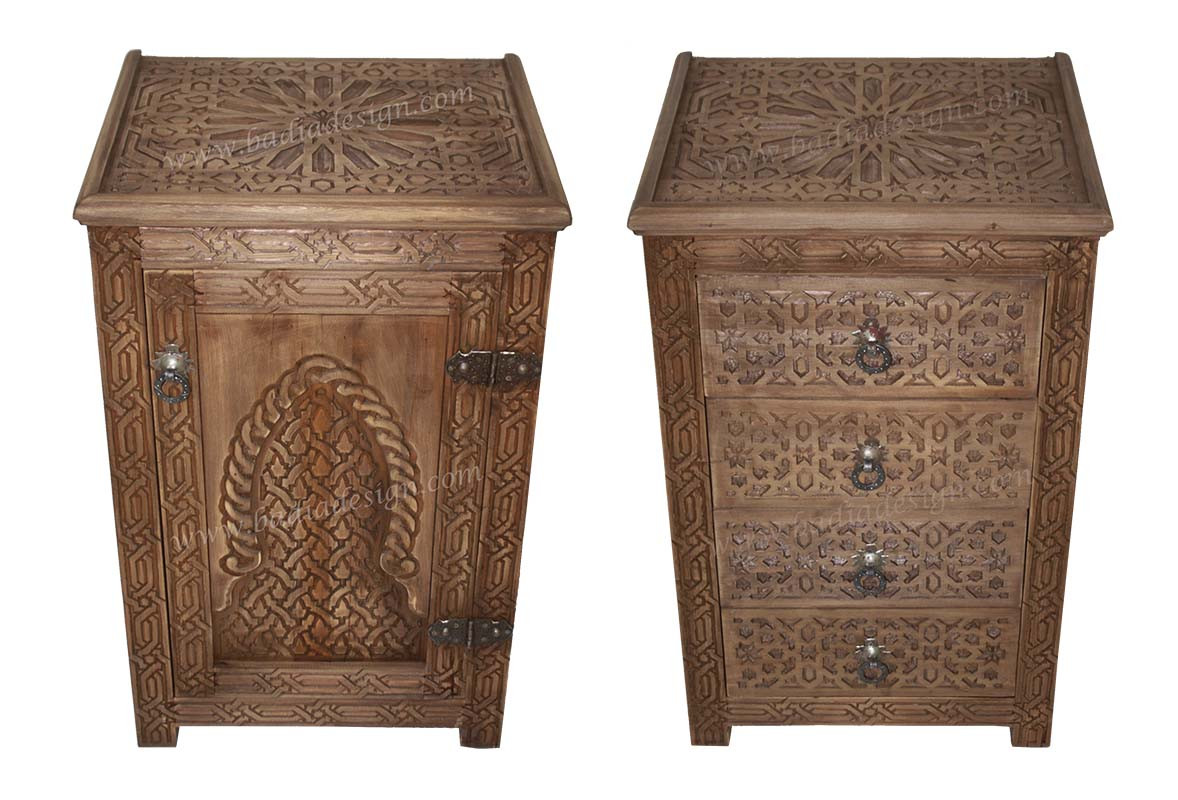 Moroccan Hand Carved Wood Nightstand From Badia Design Inc