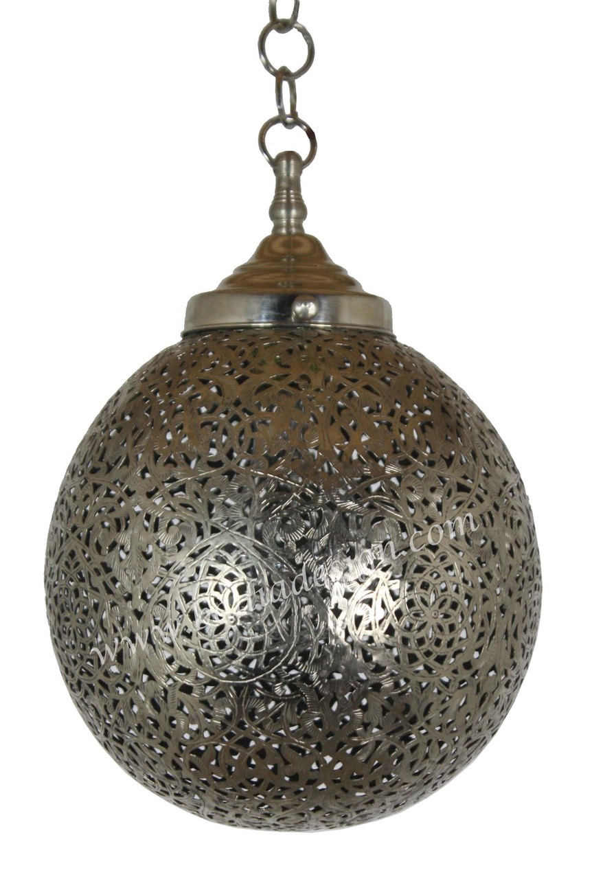 Small Round Moroccan Silver Pendant Light From Badia Design Inc