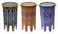 Tall Multi Color Hand Painted Side Table - HP012