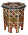 Carved Wood Hand Painted Side Table - HP014