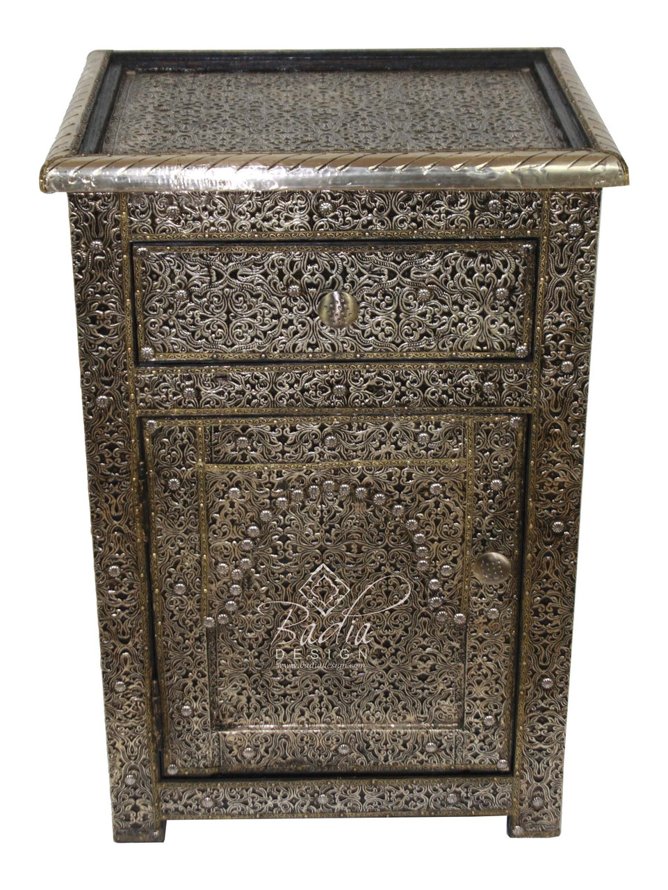 Silver Nickel Nightstand With Glass Top Nk Ca047