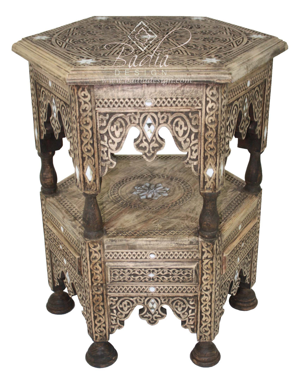 Mother Of Pearl Inlaid Carved Wood Side Table Mop St091