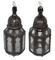 White and Clear Glass Floor Lanterns - LIG382