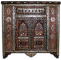 Metal and Bone Cabinet with Glass Top - MB-CA003