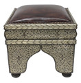 Metal and Brown Leather Ottoman - ML-CH019