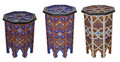 Carved Wood Hand Painted Side Table - HP015