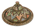 Small Round Silver Metal and Orange Bone Tray - T-MB009
