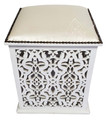 White Pressed Leather Carved Wood Ottoman - ML-CH001