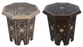 Hand Carved Bone Inlay Wooden Side Table - CW-ST062