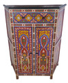 Tall Red Vintage Hand Painted Wooden Cabinet - HP-CA057