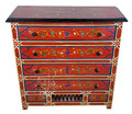 Red Vintage Hand Painted Wooden Dresser - HP-CA059