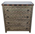 Vintage Metal and White Bone Dresser with Four Drawers - MB-DR005