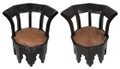 Dark Stained Hand Carved Wooden Chair - CW-CH021
