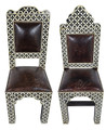Leather Seat Metal and Inlay Bone Chair - MB-CH034