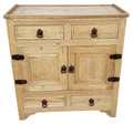 Unstained Hand Carved Wooden Cabinet - CW-CA095