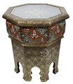 Hand Carved Brass Side Table with Glass Top - BR-ST018
