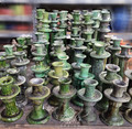 Green Hand Painted Tamegroute Candle Holders - CER-C009