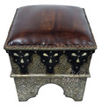 Vintage Metal and Bone Hard Leather Ottoman - MB-CH014