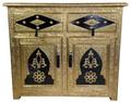 Hand Carved Brass Cabinet with Dark Wood Design  - NK-CA061