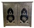 Hand Carved Silver Nickel Cabinet with Dark Wood Design  - NK-CA063