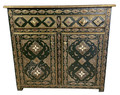 Metal and Bone Cabinet with Dark Green Pressed Leather  - NK-CA063