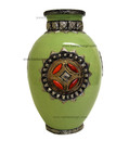 Metal and Bone Large Lime Green Ceramic Vase CER76-LG