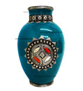 Metal and Bone Large Turquoise Ceramic Vase CER76-TURQ