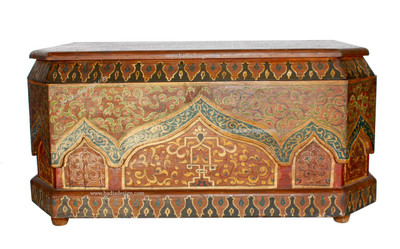 Moroccan Hand Painted Chest in Multi-Colors