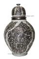 Silver Metal Ceramic Urn - VA020