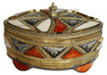 Metal and Bone Oval Jewelry  Box HD059