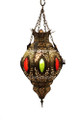 Multiple Color Glass Brass Lantern LL013